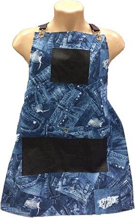 Avental em Algodão Cru Especial - Estampa Imita Jeans