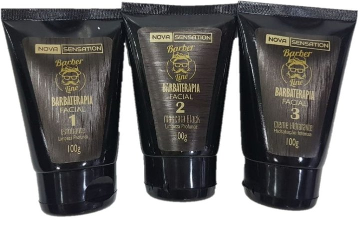 Kit Barboterapia Barber Line: Esfoliante + Máscara Black + Creme Hidratante