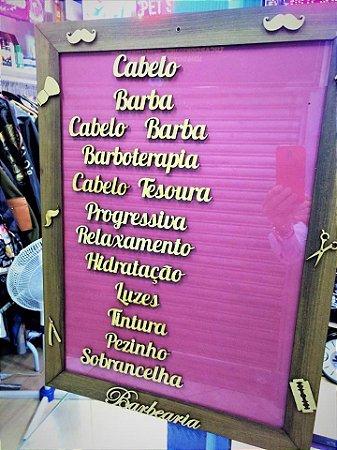 Placa para Tabela de Preços em Barbearia - Madeira e Vidro