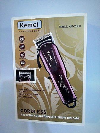3737668f7 Kemei Sem Fio - Máquina de cortar Cabelo Professional - Lithium-Ion - KM-