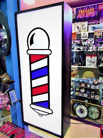 Luminária Barber Pole - Madeira e Acrílico - Bivolt