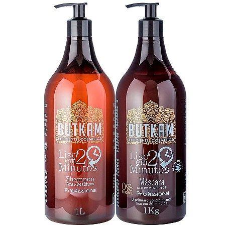 Liso em 20 Minutos Butkam - Máscara 1Kg +  Shampoo Anti-Resíduos 1L