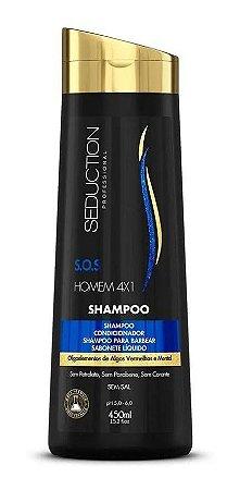 Shampoo Homem 4X1- Shampoo/Condicionador/Shampoo p Barbear/ Sabonete Líquido - 450ml
