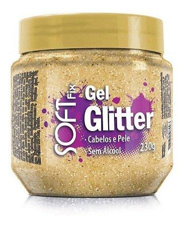 Gel Glitter Dourado - Cabelos e Pele - Soft Fix - 230g