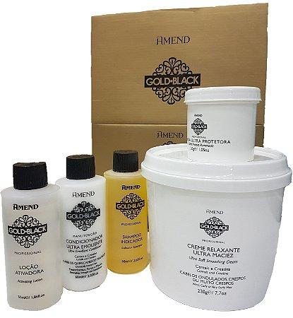Relaxamento Guanidina Amend Gold Black Kit COM SELO (1 Aplicação e 2 Retoques)