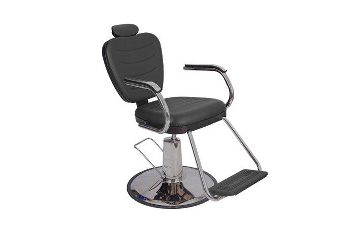 Cadeira Reclinável Hidráulica Top Barber Dompel - Base Redonda Cromada