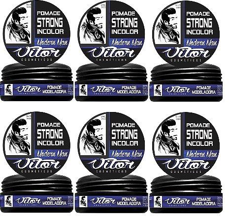 Pomada Modeladora Vitor Strong Incolor (Pack com 6 unidades de 150g cada)