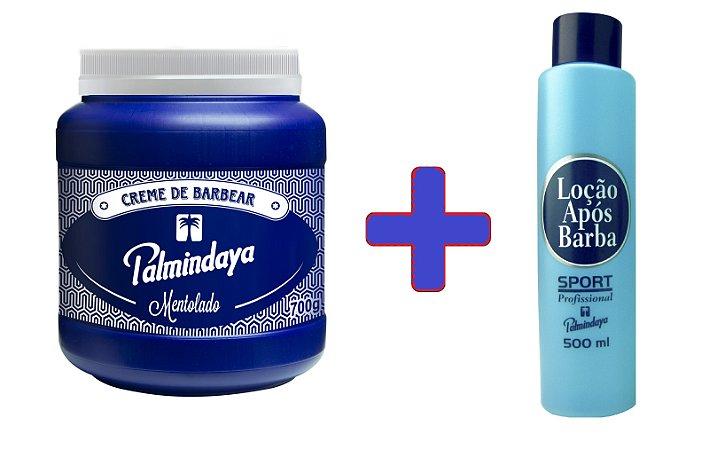 Kit Palmindaya Creme de Barbear Mentolado (700g) + Loção Após Barba Sport (500ml)