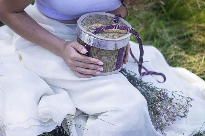 IRANI - Bolsa mini baú feita de palha de Butiá