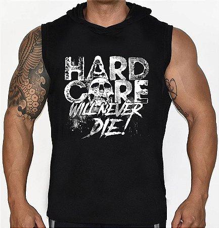 Camiseta Regata Machão com Capuz Hard Core Caveira Skull