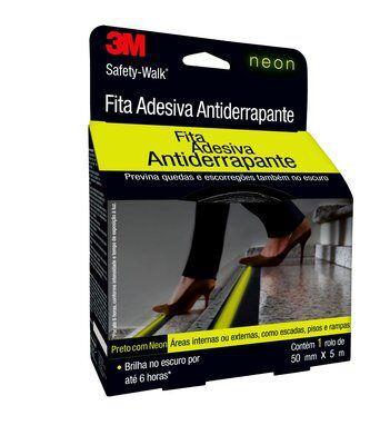 FITA ANTIDERRAPANTE PRETO COM NEON SAFETY WALK 50MMX5M
