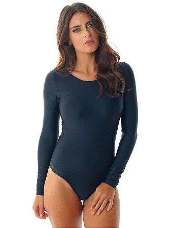Body manga longa - Básico preto com recorte ( M)