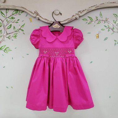 Vestido Bordado Bebê Gola Matame Pink
