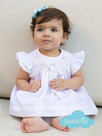 Conjunto Batinha Bordado Bebê Anne Branco