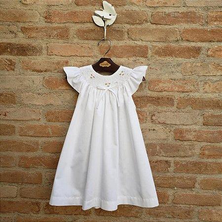 Vestido Bata Bordado Infantil Anne Branco