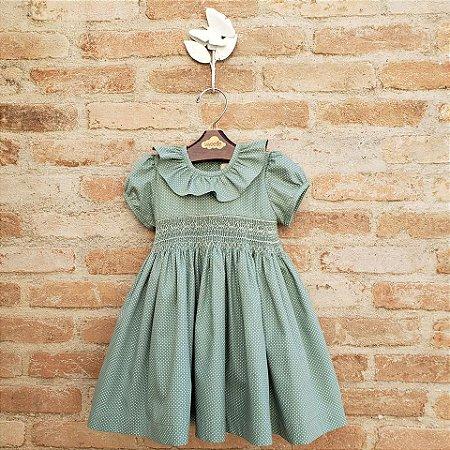 Vestido Bordado Infantil Encanto Poá Verde