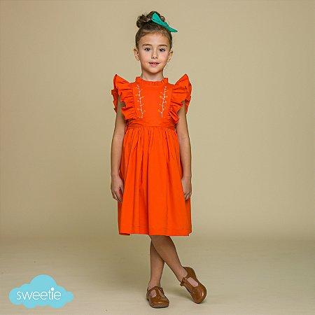 Vestido Infantil Gérbera Laranja
