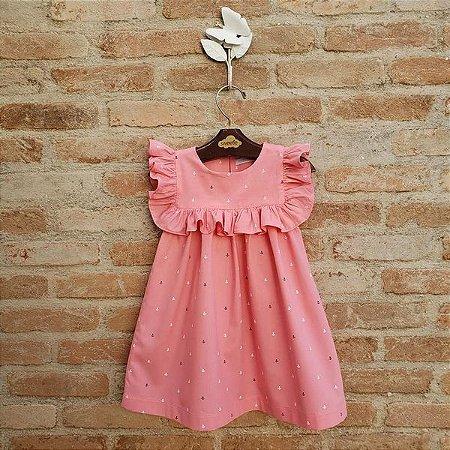 Vestido Infantil Milão Âncoras Rosa