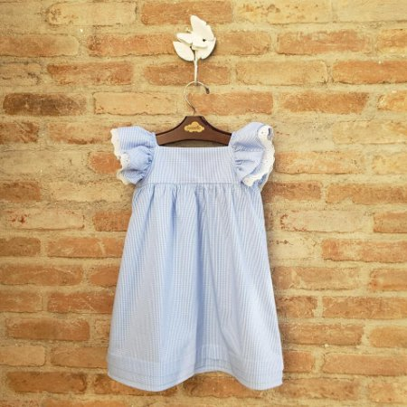 Vestido Infantil Geranio Xadrez Azul