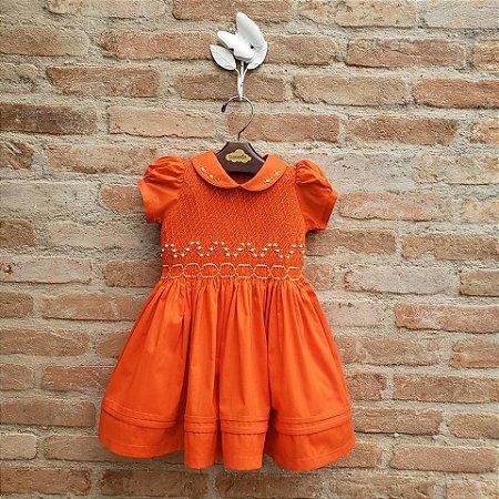 Vestido Bordado Bebê Nice Laranja