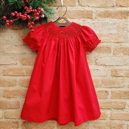 Vestido Bata Bordado Bow Vermelho