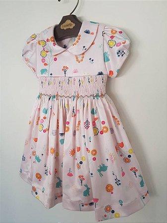 Vestido bordado Casinha de Abelha Jardim