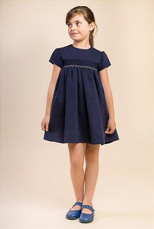 Vestido bordado alto blue