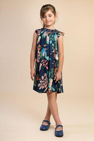 Vestido batinha bordado floral Azul