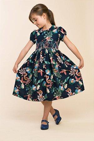 Vestido bordado floral azul