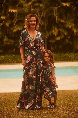 Vestido Mãe Floral Azul