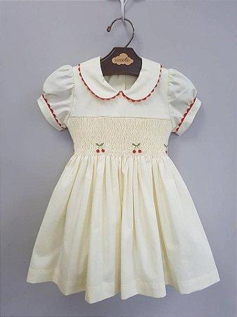 Vestido Bordado Casinha de Abelha Cerejinha