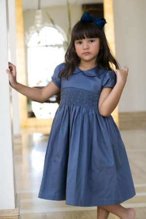 Vestido Bordado blue infantil 400 fios
