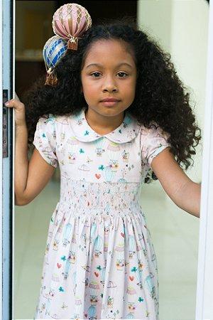 Vestido bordado baloes infantil