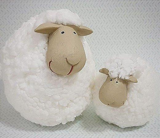 Ovelhinha Mãe e Bebê de algodão ilustritto (par)