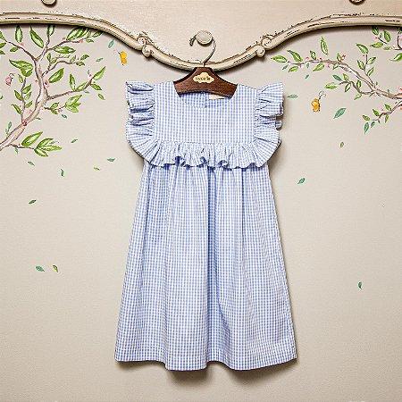 Vestido infantil xadrez azul Milao