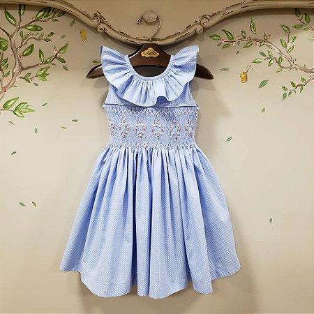 Vestido Bordado Bebe e Infantil Azul Veneza