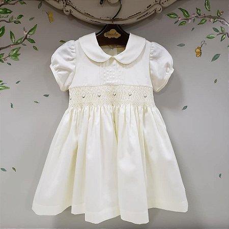 Vestido Bebê Bordado Off Algodão 400 Fios