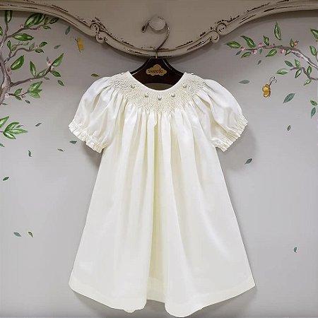 Vestido Bata Infantil Algodão 400 Fios Branco Off White