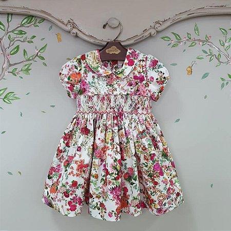Vestido Bordado Infantil estampa Floral Rosa