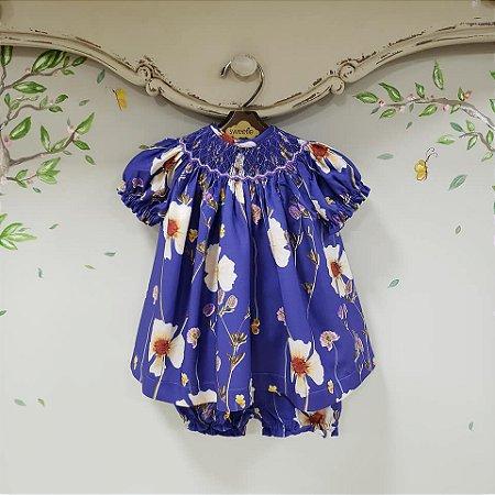 Conjunto Batinha Bebê Floral Azul