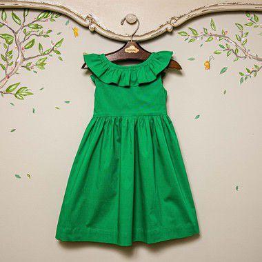 Vestido infantil babado verde