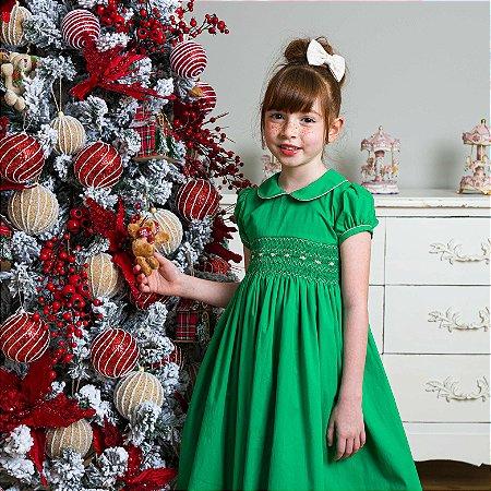 Vestido Infantil Bordado Verde Noél