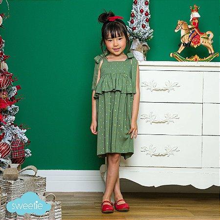 Vestido Infantil Brilho Verde