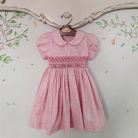 Vestido bebe Bordado Linho Vermelho