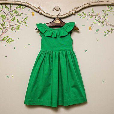 Vestido Menina babado verde