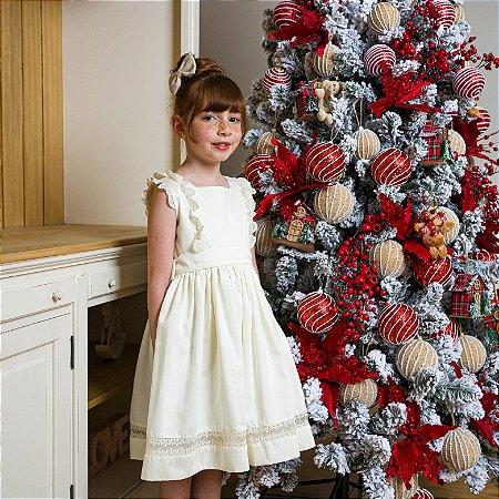 Vestido Infantil algodão 400 fios Perola