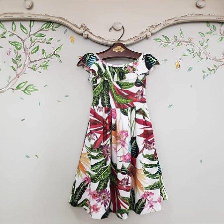 Vestido Babado V Estampa Floral Tropical