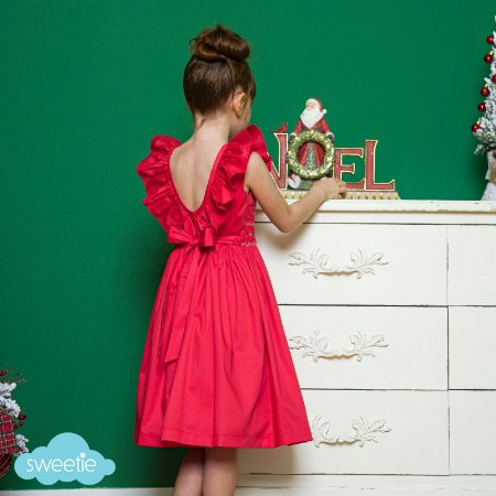 Vestido bordado V babado vermelho