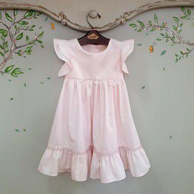 Vestido bebê rosa com aplicação rendinha Turin