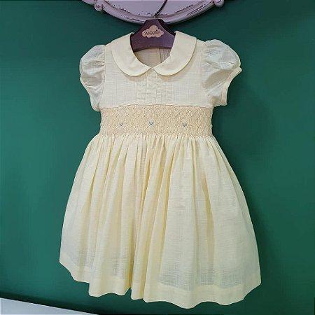 Vestido bordado Bebê amarelo
